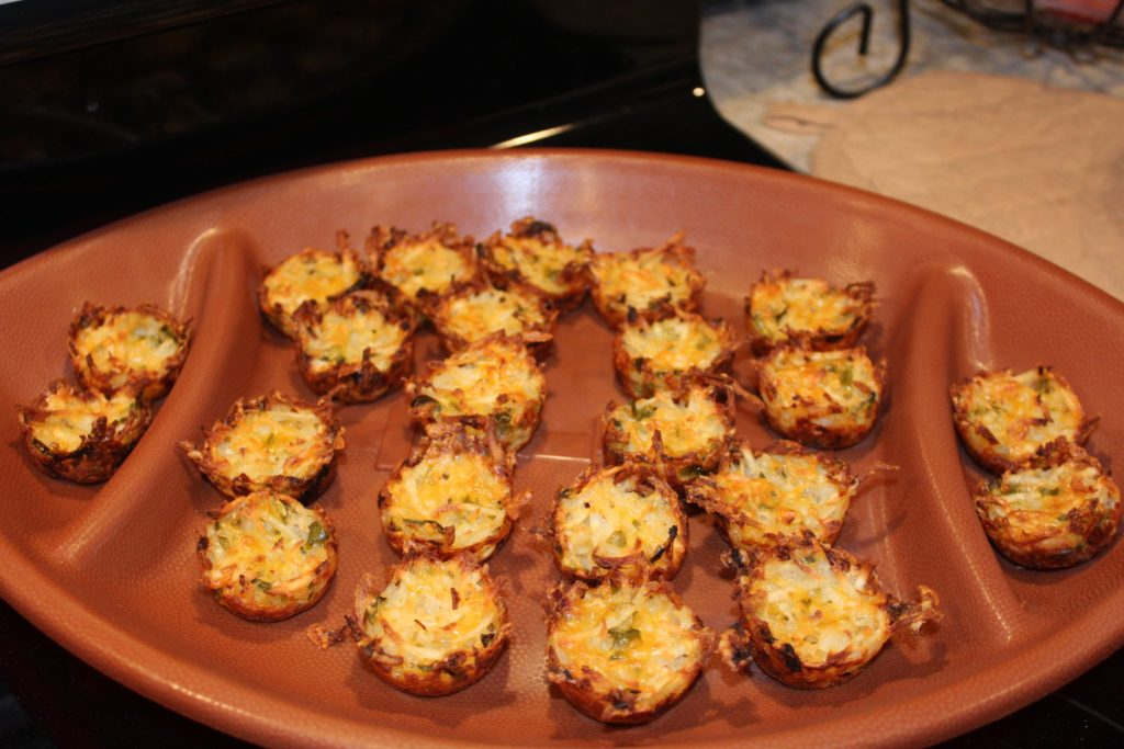 Football platter of Cheddar Hash Brown Potato Jalapeno Bites