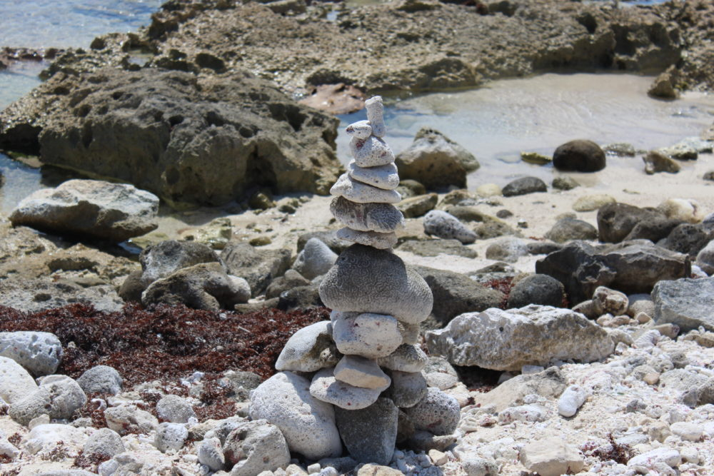 Rock sculpture on the beach