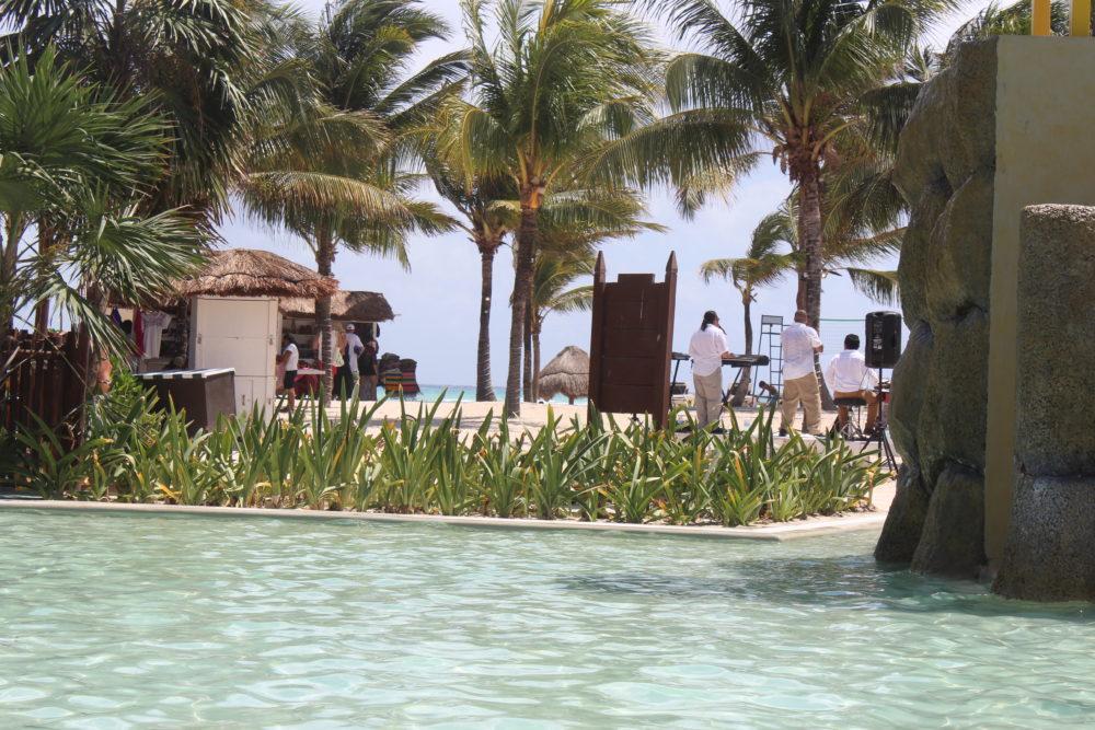 Live band on the beach at Palladium resort in Riviera Maya, Mexico. Family travel.