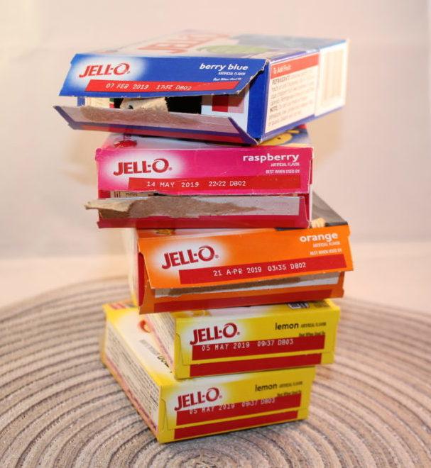 Jello boxes stacked