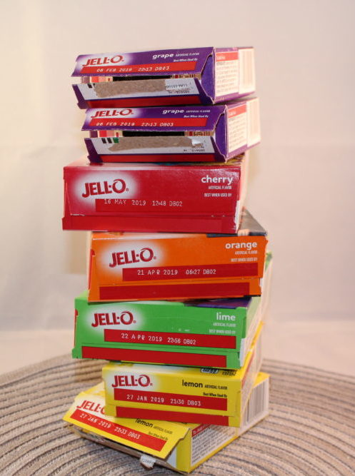 Jello Boxes stacked