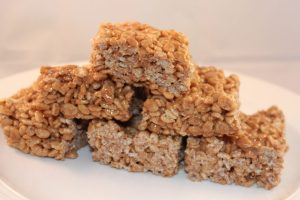 Nutella Rice Krispie Bars on a plate. An easy quick to make dessert bar. Easy recipe.