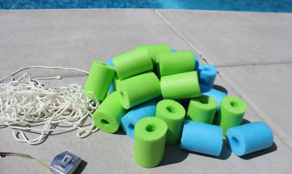 Supplies needed for DIY Pool Noodle Float Strip.