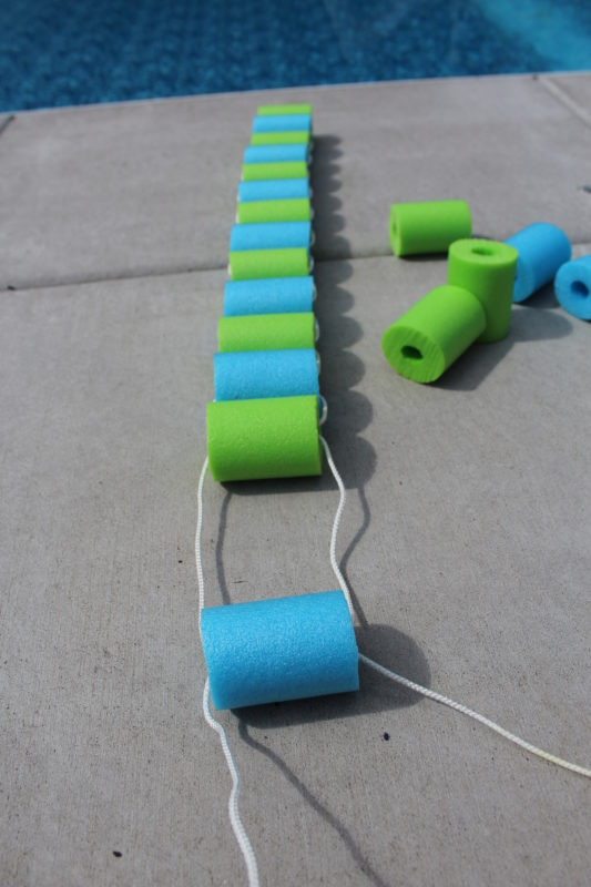 continue to string rope ends through all pool noodle sections