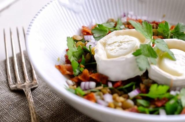 linsesalat ned gedeost og rødløg opskrift