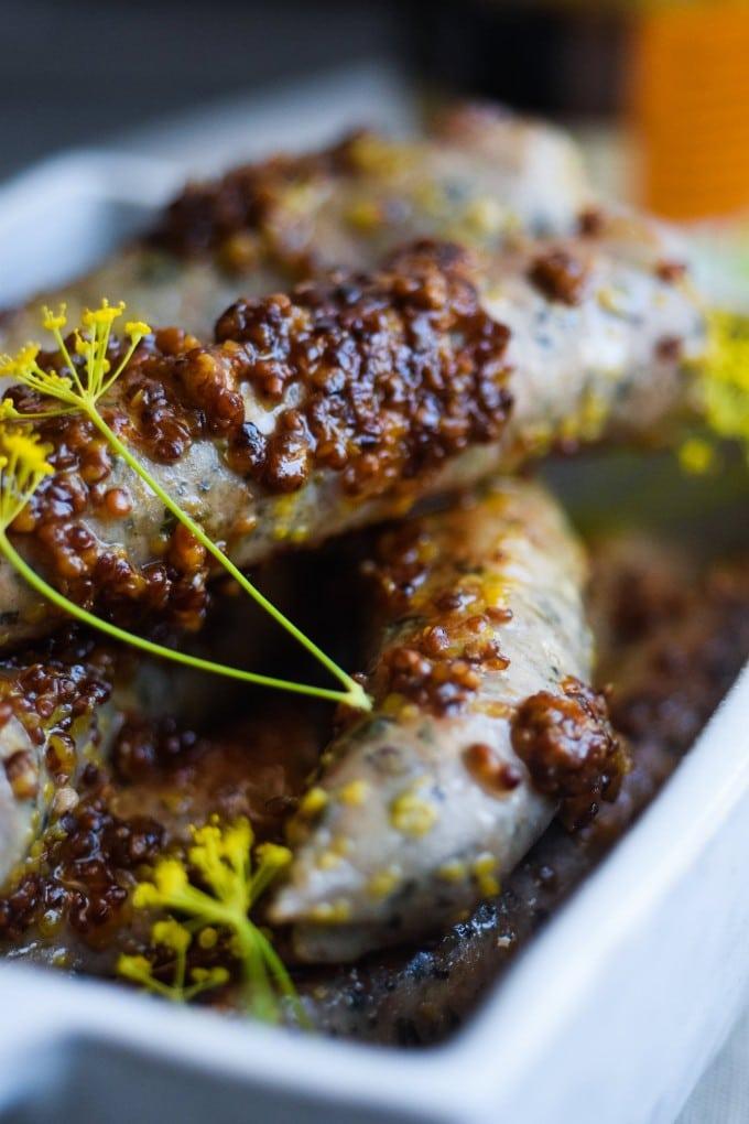 chipolata pølser med senep og honning