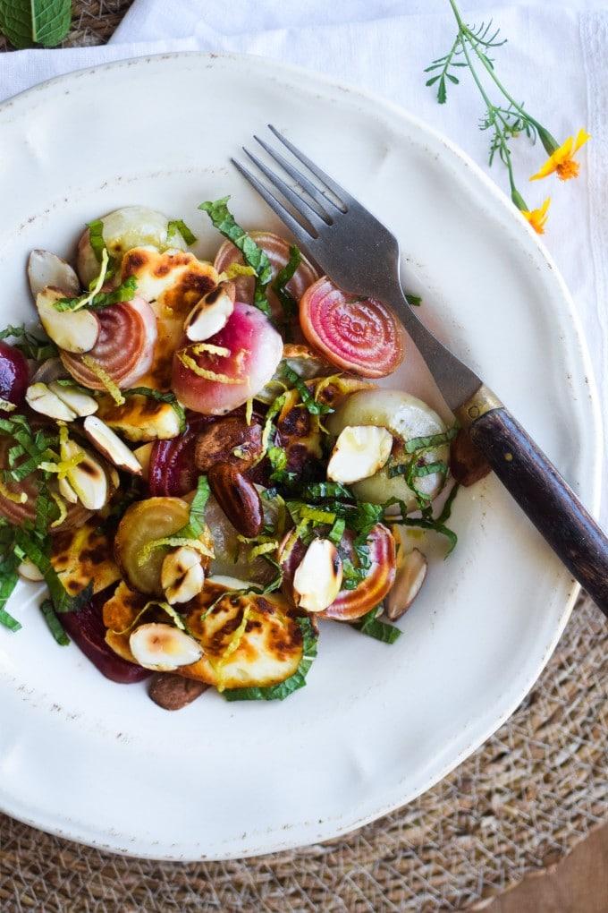 salat med beder og mandler