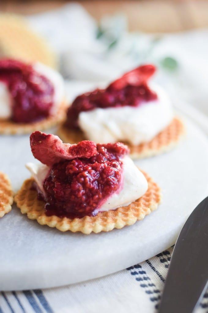 Hurtig dessert med hindbær