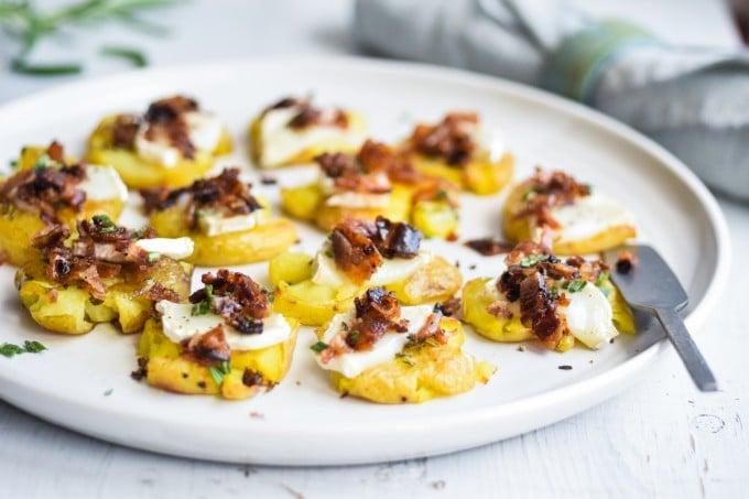 de bedste Knuste kartofler med bacon