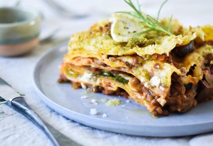vegetar lasagne opskrift med gedeost