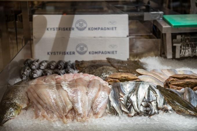skånsomt fanget fisk hos fiskehandler