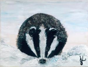 Snowy Badger   Oil on Canvas by Julie Lovelock