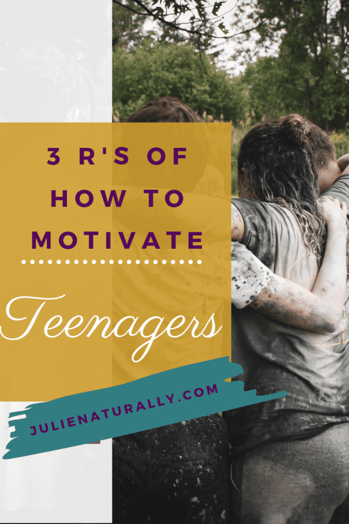 3 huddled muddy motivated teenagers with woods in the backdrop
