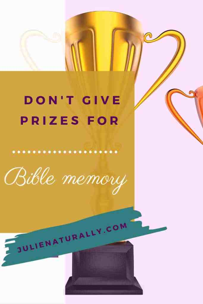 large golden trophy and part of a smaller trophy as prizes for Bible memory