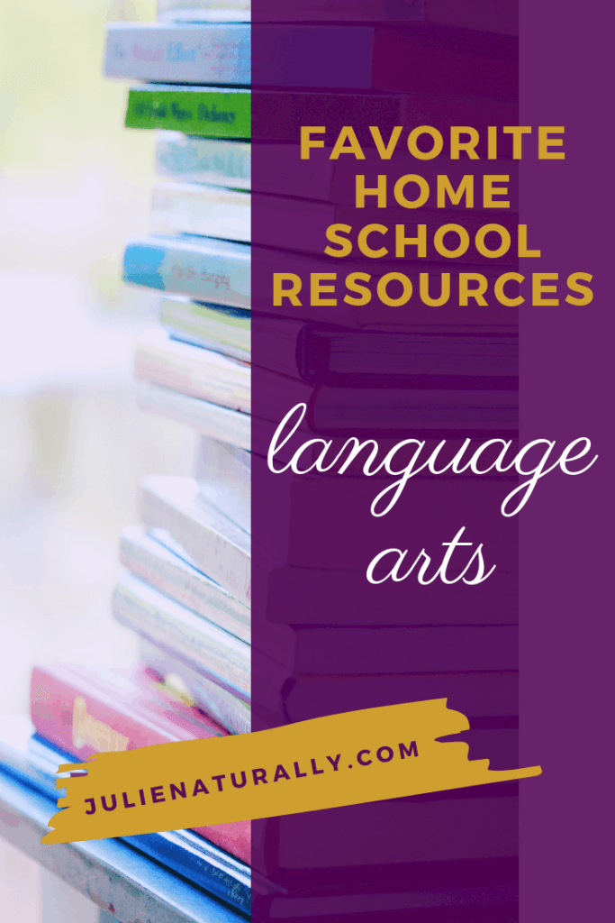 pile of books used as favorite homeschool language arts resources