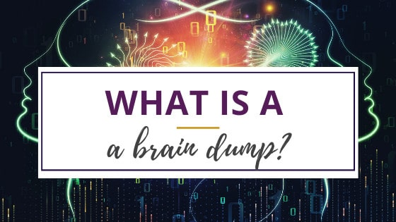 a graphic illustrating the whirling thoughts of a brain dump