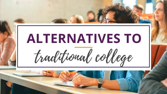 students sitting at tales at an alternative to traditional college