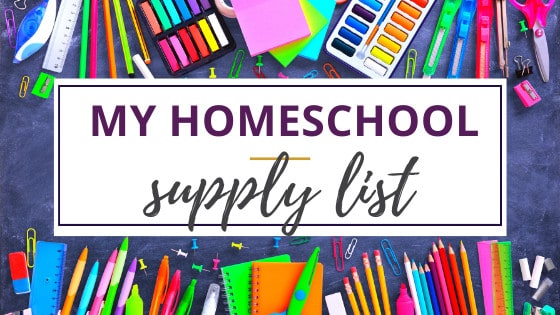 school supplies from the homeschool supply list