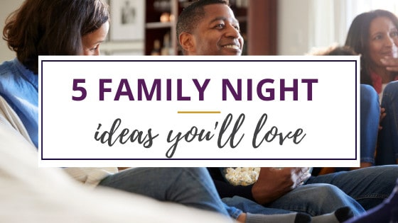 a family enjoying family night ideas on the couch at home