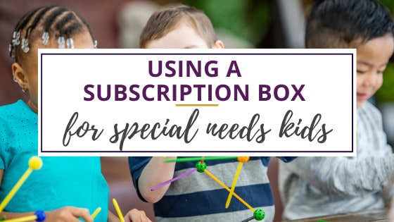 children using pieces from subscription box for special needs children