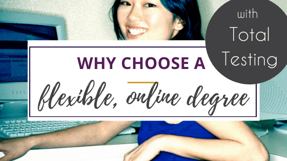 young asian woman doing a flexible online degree at a computer