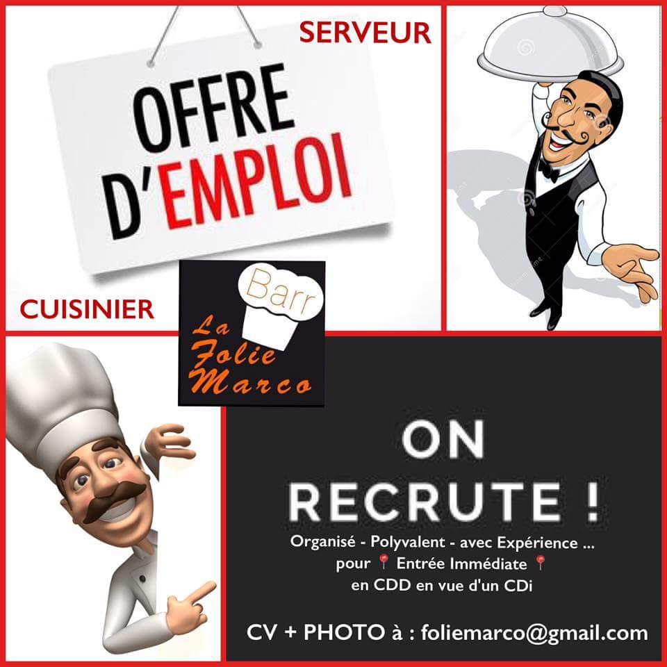 Offre Demploi Restaurant FOLIE MARCO Recrute