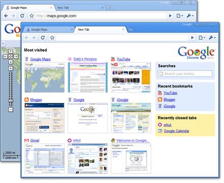 Premières captures d'écran de Google Chrome