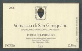 Vernaccia di San Gimignano - Poderi del Paradiso 2008