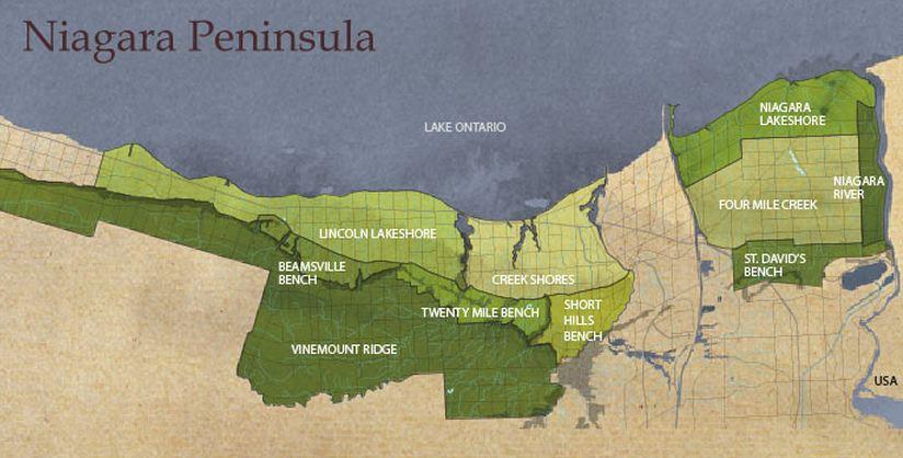 Carte des appellations dans la Niagara