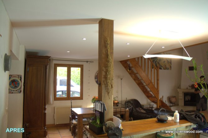 Finition sur faux plafond en osb bois plafonds et murs for Finition plafond poele a bois
