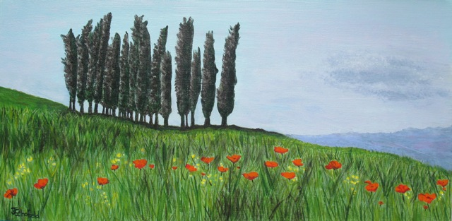 ©Julie Schofield, San Quirico d'Orcia, Cyprus and Poppies, Acrylic 30 x 60cm