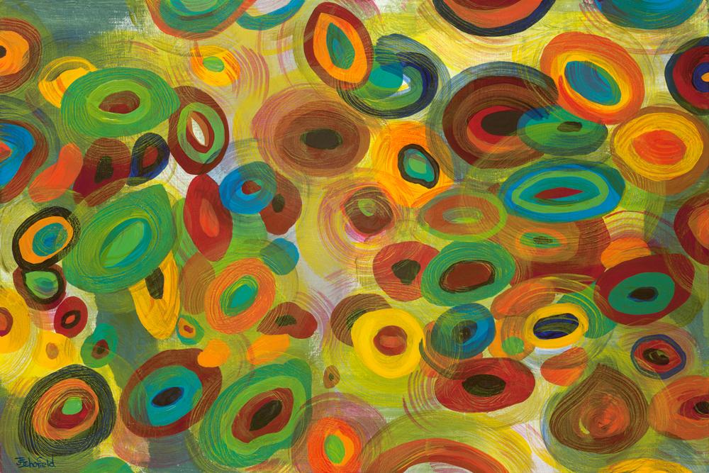 ©Julie Schofield, Lifes Circles, Acrylic 60 x 90cm
