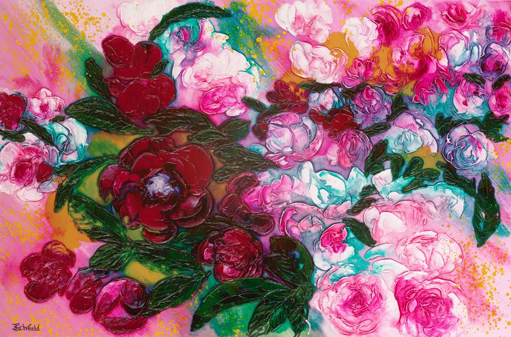 ©Julie Schofield, Peonies, Aix-en-Provence Flower Market, Acrylic and Ink 36 x 51cm