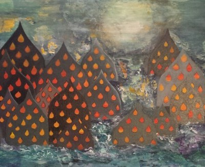 ©Julie Schofield, Ubud Awakening - rising fire from the cosmic sea, Acrylic, 41 x 122cm
