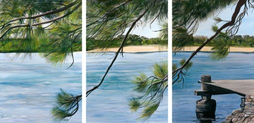 ©Julie Schofield, Casuarina Tranquility-triptych, Acrylic on Canvas, 3x 90 x 60cm
