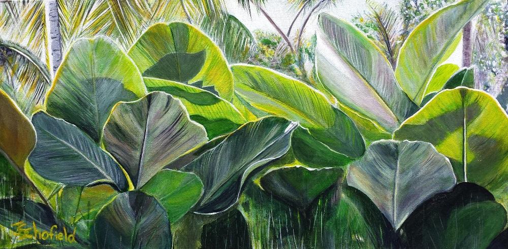 ©Julie Schofield, Shala Leaves, Acrylic 45 x 91cm