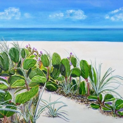 ©Julie Schofield, Beach Bean Dreaming, Acrylic 110 x 55cm