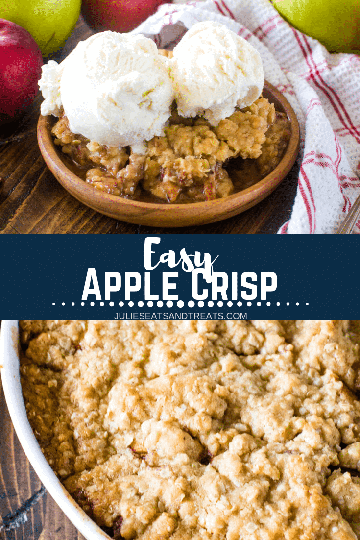 This quick and easy apple crisp recipe is full of juicy apples, cinnamon, sugar and the best part of all is the amazing oatmeal streusel on top! Grab your ice cream, warm apple crisp and dig into this easy dessert! #julieseatsandtreats #dessertrecipe #recipe #apple #crisp #applecrisp #fall #fallrecipe #comfortfood