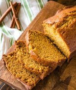 Loaf of pumpkin bread recipe sliced