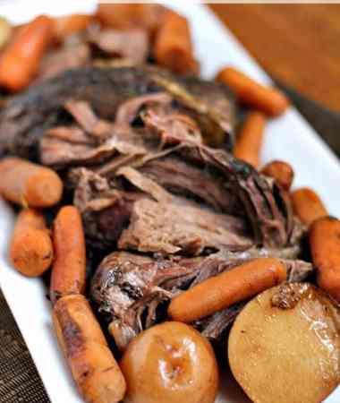 Crock Pot Balsamic Roast ~ Savory Roast, Carrots & Potatoes! via www.julieseatsandtreats.com