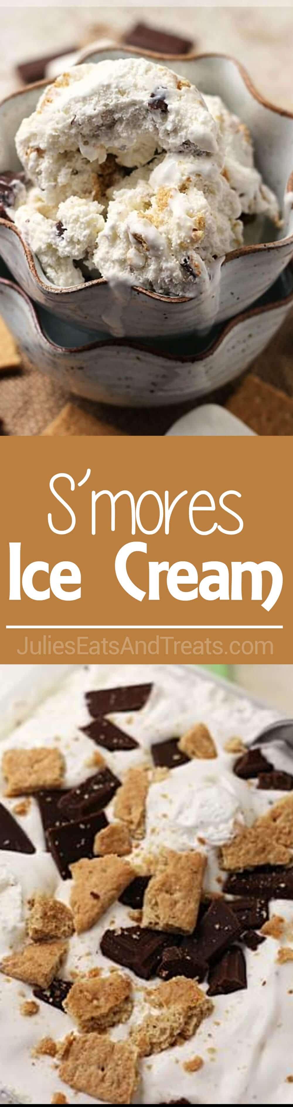 S'mores Ice Cream ~ Easy, Creamy Ice Cream Stuffed with Chocolate, Marshmallow & Graham Crackers!