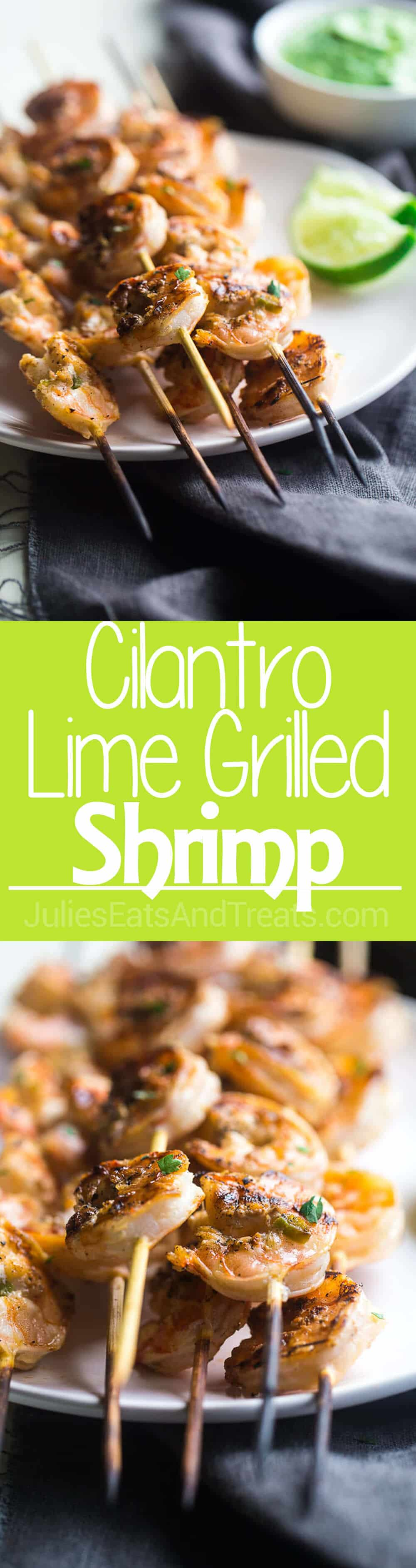 Cilantro Lime Grilled Shrimp with Avocado Cilantro Dip - Grilled shrimp are marinated in lime juice, honey and jalapeno pepper, then grilled for a quick and easy, healthy appetizer that's perfect for Summer!