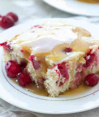 Cranberry Cake with Caramel Sauce Recipe
