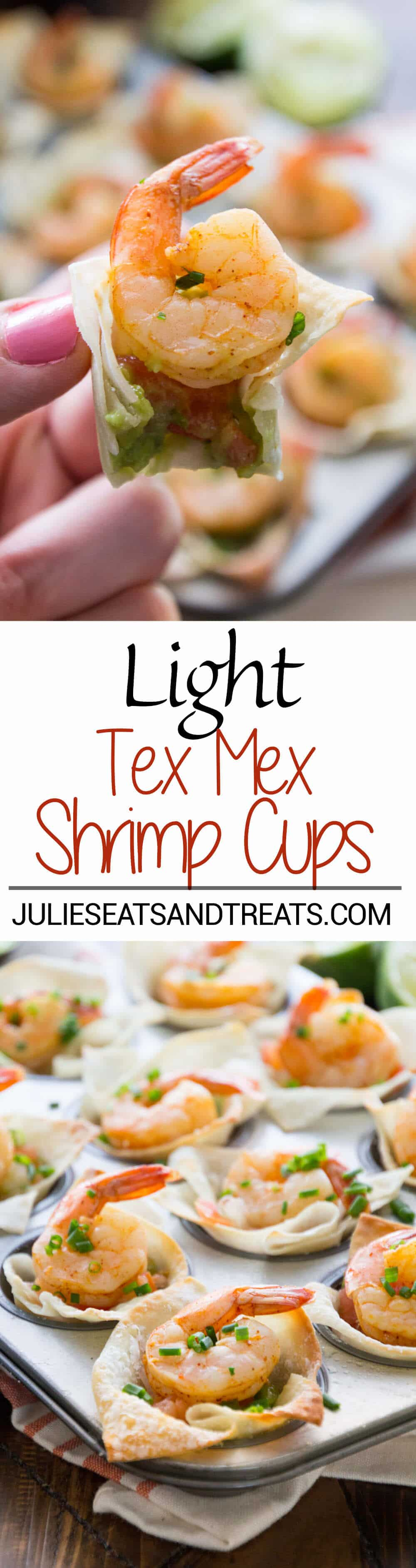 Light Tex Mex Shrimp Wonton Cups Recipe ~ Perfect Small Bite Appetizers! Crunchy Wonton Shells Stuffed with Pico de Gallo, Guacamole, and Seasoned Shrimp! Plus, it's a Light Appetizer So You Won't Feel Guilty!