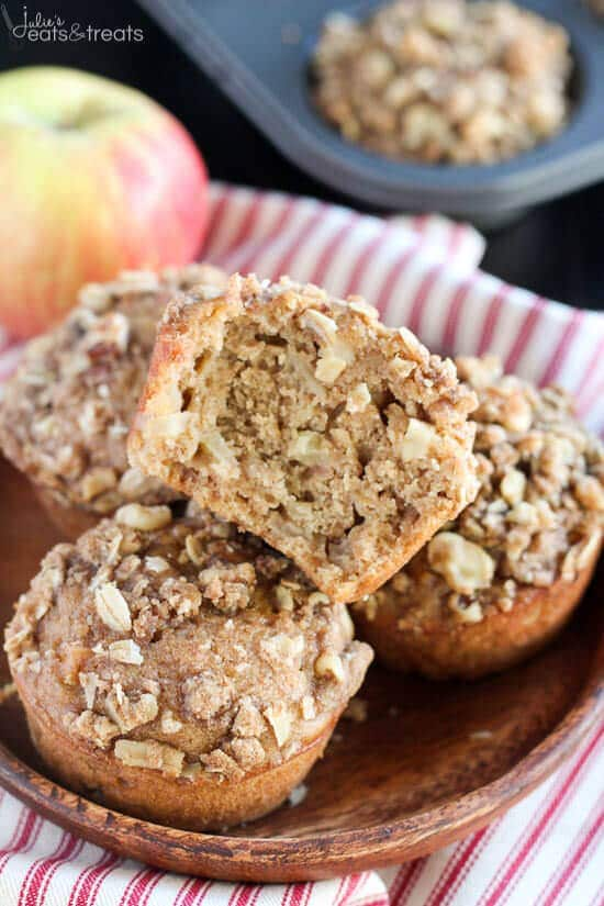 Stack of Apple Oatmeal Muffins on brown plate