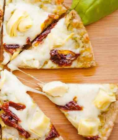 Sun-dried Tomato and Artichoke Pita Pizza