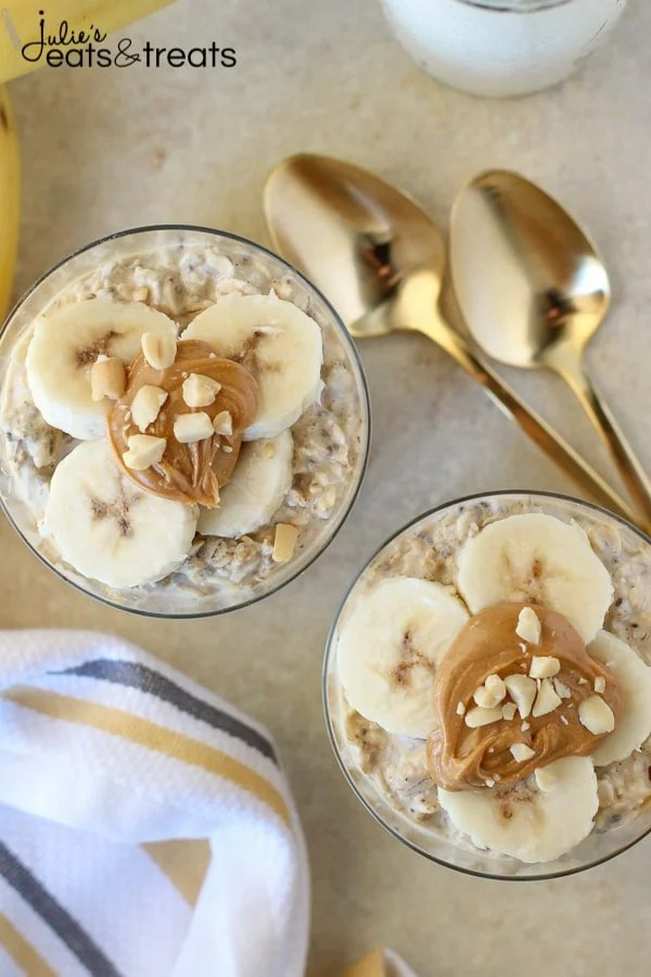 Peanut Butter Banana Overnight Oats - An easy, no-bake recipe for creamy oats flavored with peanut butter, bananas and maple syrup. The perfect make-ahead recipe for busy mornings.