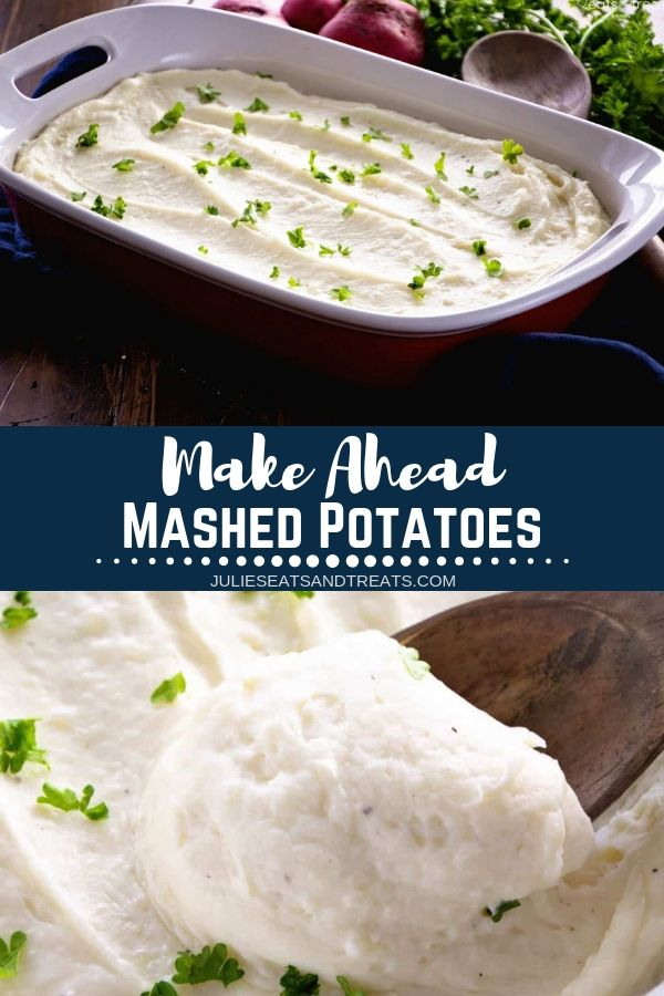 Make Ahead Mashed Potatoes are smooth, rich and creamy! I love making mashed potatoes ahead of time so the holidays aren't so rushed the day of! They are made with cream cheese which makes these potatoes a little tangy and amazing! Grab this recipe for a hectic free holiday dinner.#mashedpotatoes #potatoes