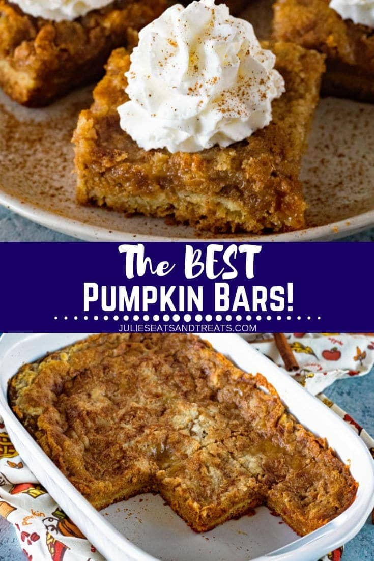 This pumpkin bar recipe is amazing! It has a delicious cake batter crust, creamy pumpkin pie filling layer and it's topped with more cake mix! These pumpkin bars will be your new favorite recipe for a fall dessert. It might even replace your pumpkin pie! #julieseatsandtreats #pumpkin #pumpkinbar #pumpkindessert #dessert #desserts #falldessert #fallrecipe #thanksgiving #thanksgivingdessert #thanksgivingrecipe #pumpkinbars #pumpkinsquares #easypumpkinbars