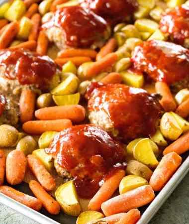 Sheet Pan Mini Meatloaf and Veggies